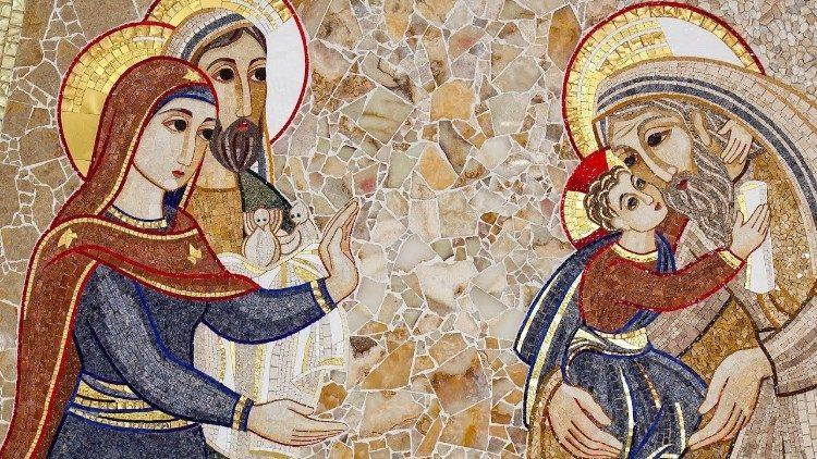 Mosaico sobre a Apresentação de Jesus no Templo do jesuíta Marco Rupnik