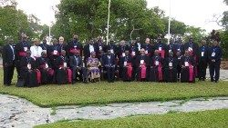 Malawi, Zambia and Zimbabwean Bishops with Zambian President, Edgar Lungu who is with the country's Minister for Religious Affairs