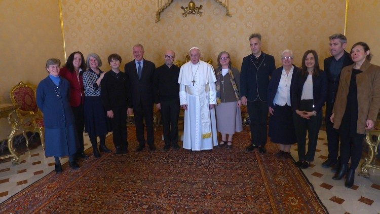 Pope Francis with members of Talitha Kum, the Galileo Foundation, ESPO, and Edelman