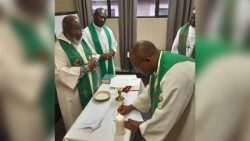Some of the Bishops, members of IMBISA's standing Committee at Mass, this week, in Boksburg, South Africa