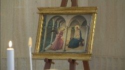 Image of the Annunciation present in the chapel of the Casa Santa Marta, 25 March 2020
