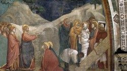 Giotto di Bondone, 'The Raising of Lazarus', fresco in Lower Church of Saint Francis in Assisi, Italy