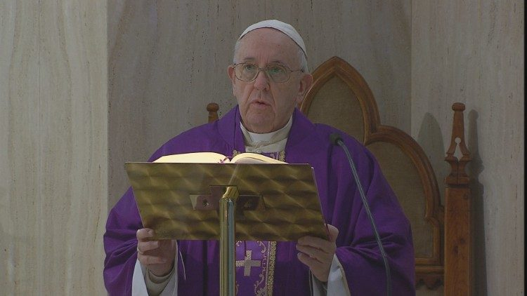 Pope Francis delivers his homily during Friday's Mass at Casa Santa Marta