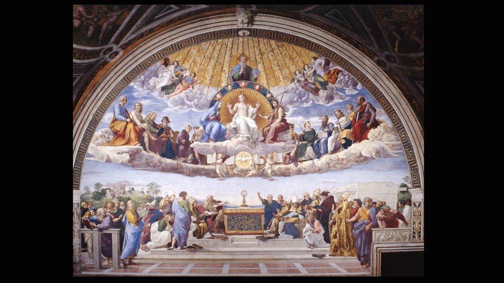 Rafael Sanzio, Disputa del Santísimo Sacramento (1508-11), fresco en la Estancia del Sello, Palacios Apostólicos Vaticanos. © Musei Vaticani