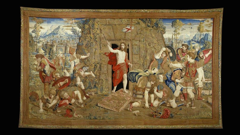 Manifattura Fiamminga, Brussels; cartoon: Raphael's School, Resurrection, Tapestry: Scuola Nuova series, wool, silk and silver and gold, 1524-31, Vatican Museum, Vatican Apostolic Palace, Gallery of Tapestries © Musei Vaticani