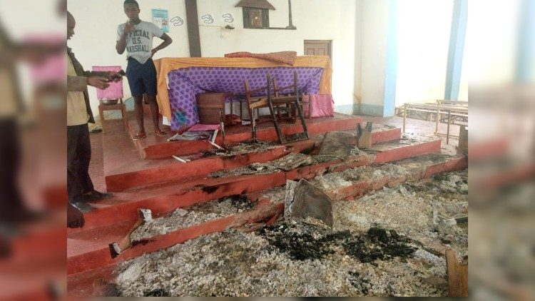 Damage to the Catholic mission of Nangololo in Muambula, Cabo Delgado, after the Easter Attacks, this year