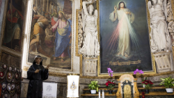 The altar of Divine Mercy with the statue of St. Faustina in the Church of the Holy Spirit in Sassia, Rome.