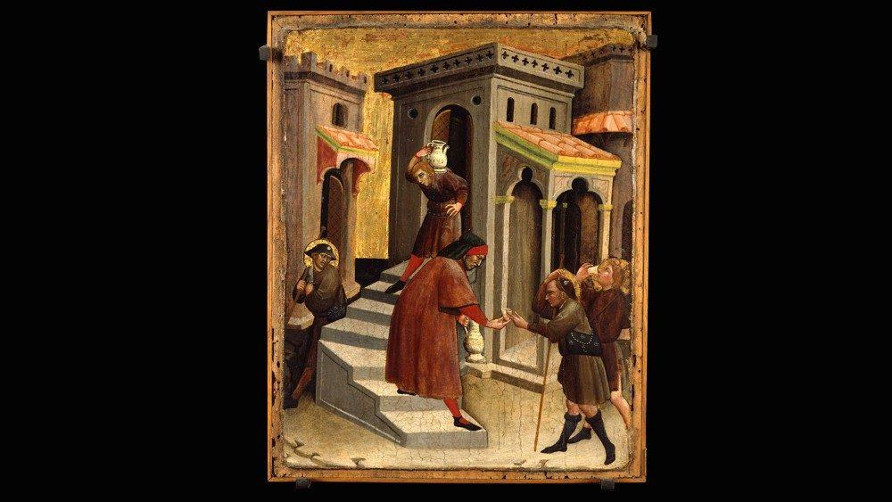 Olivuccio di Ciccarello, Obras de Misericordia: dar de beber al sediento y hospedar al peregrino. Museos Vaticanos, Pinacoteca. ©Musei Vaticani