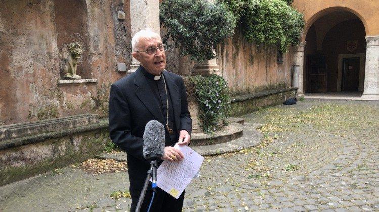 Le cardinal Fernando Filoni, Grand-maître de l'Ordre du Saint-Sépulcre.