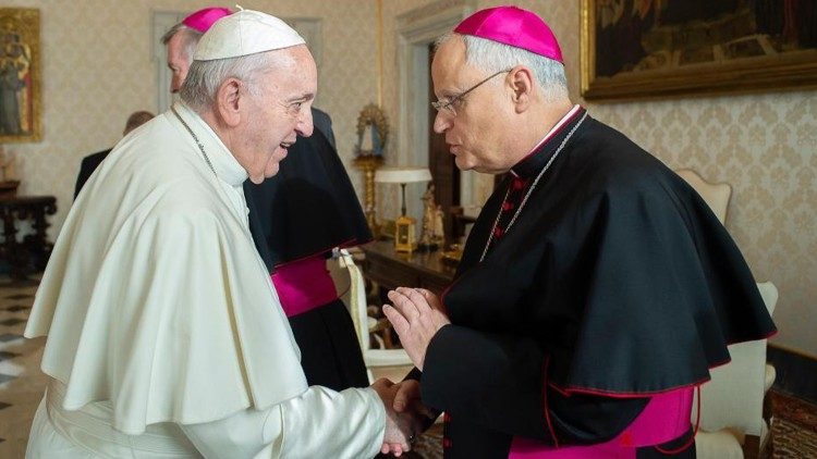 Bishop Andrew Bellisario with Pope Francis on his ad limina visit, February 2020