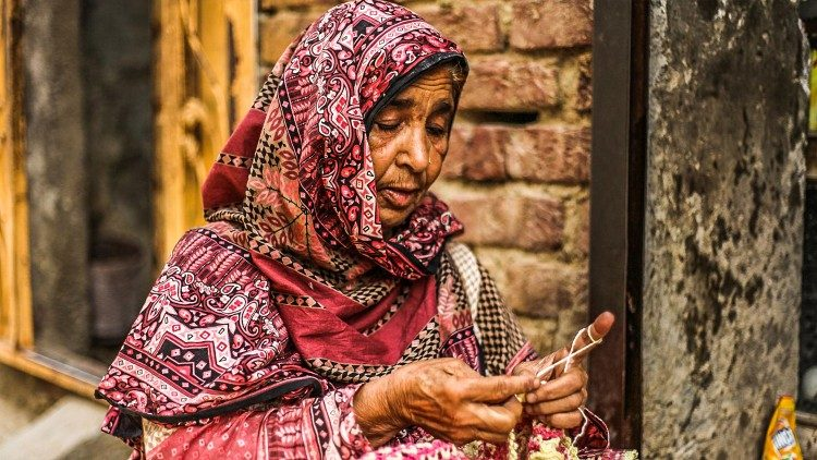A poor woman who has been helped by Akhuwat
