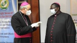 Apostolic Nuncio to Zambia and Malawi Archbishop Gianfranco Gallone with Bishop of Monze, Moses Hamungole