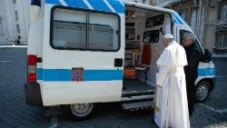 Pope Francis blesses the ambulance for the poor