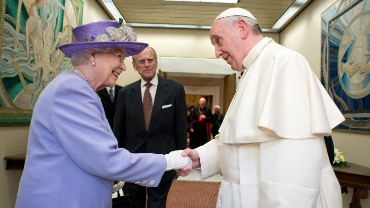 Pope Francis receiving Queen Elizabeth and Prince Philip in the Vatican in April 2014.