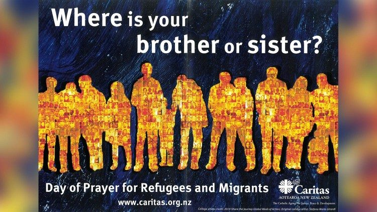 Poster of Day of Prayer for Refugees and Migrants 2020, of New Zealand's Catholic Church.