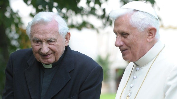 Pope emeritus Benedict XVI with his brother, Georg