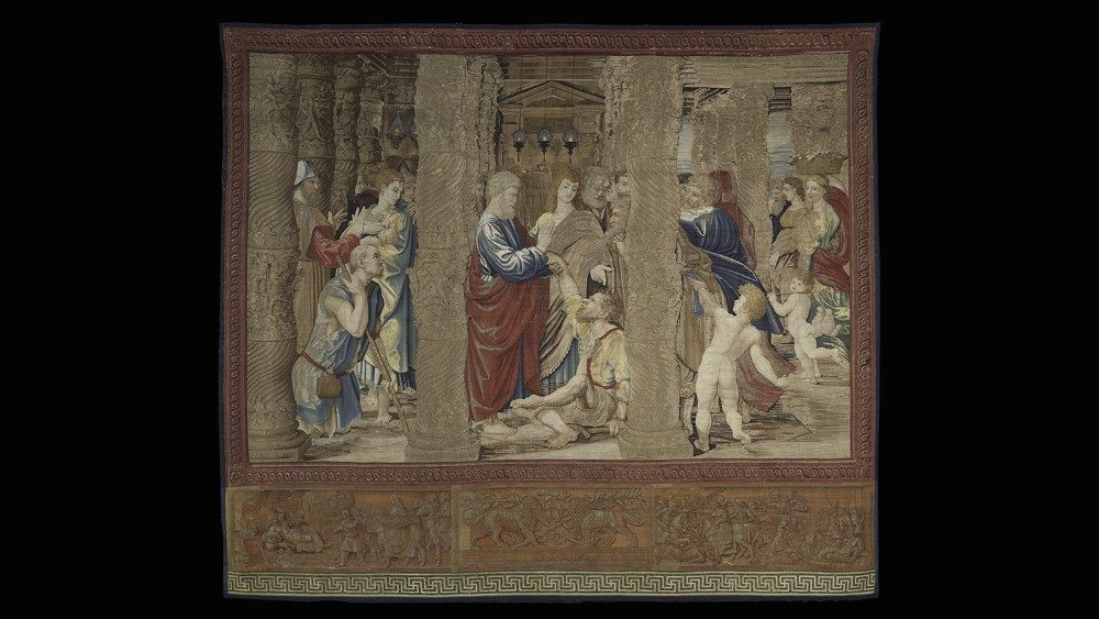 The Healing of the Crippled Man, Series with stories from the Acts of the Apostles (known as the Old School), Tapestry, Flemish Manufactured, Brussels, workshop of Pieter van Aelst (d. Breuxelles 1532); cartoon: Raphael (Urbino 1483 - Roma 1520) and workshop. Pinacoteca, Vatican Art Gallery - © Musei Vaticani
