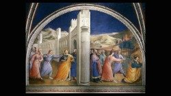 Fra Giovanni da Fiesole known as Fra Angelico (1395-1455), Capture and Stoning of Saint Stephen, lunette of the upper portion of the Stories of Saint Stephen and Saint Lawrence, fresco, 1448-1449, Vatican Apostolic Palace, Niccoline Chapel (Pope Nicholas V 1447-1455. © Musei Vaticani