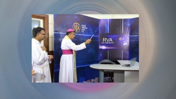 Archbishop Joseph Arshad blessing the newsroom of Radio Veritas Asia (RVA) Urdu service
