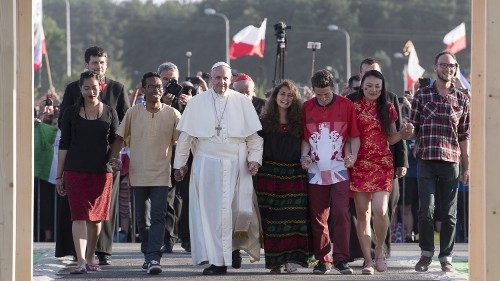 Pope Francis with young people at World Youth Day 2016 in Poland
