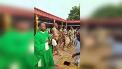Nigerian military at Sunday's Madagali Mass, over the weekend
