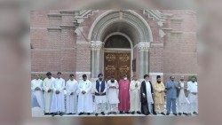 Leaders of various religions on the steps of Sacred Heart Cathedral, Lahore, 16 August 2020