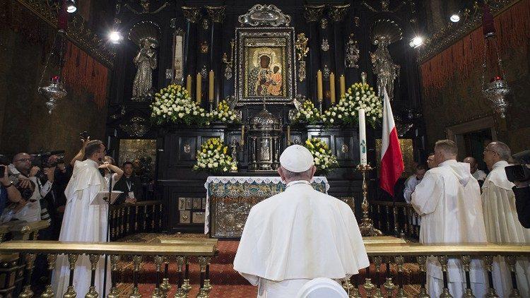 Le Pape François au sanctuaire de Jasna Gora à Czestochowa en Pologne.