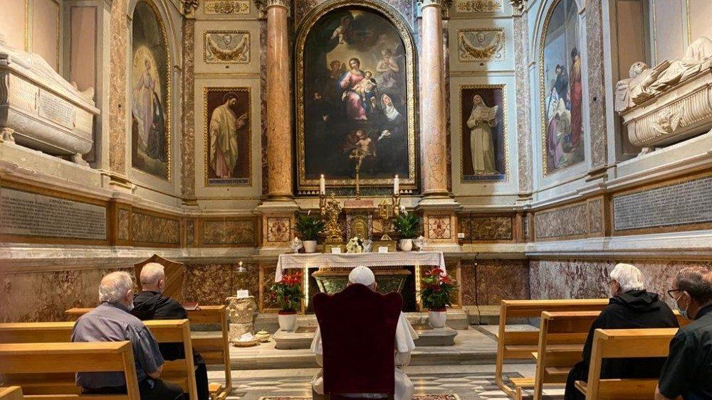 Le Pape en visite à la basilique Saint-Augustin, le 27 août 2020.