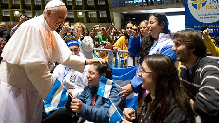 Pope Francis with young people during the World Youth Day in Rio, Brazil in 2013