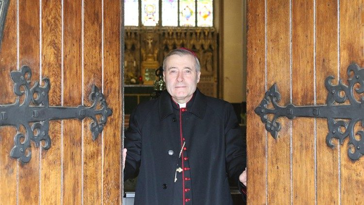 Bishop Davies opening the doors of the Cathedral on 15 June, after 90 days of lockdown. (Courtesy of the Diocese of Shrewsbury)