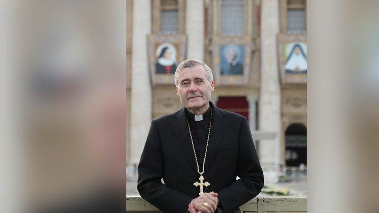 Bishop Mark Davies in St Peter's Square after St John Henry Newman's canonization, 13 October 2019. (Courtesy of the Diocese of Shrewsbury)