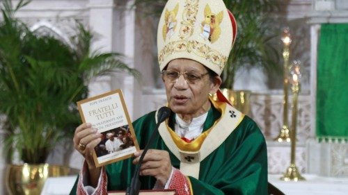 "Cardinal Oswald Gracias releasing the Indian edition of ""Fratelli tutti"" on Oct. 18, 2020."