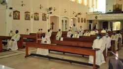 Priests at Mass in Our Lady of Assumption Cathedral, Manzini, Eswatini