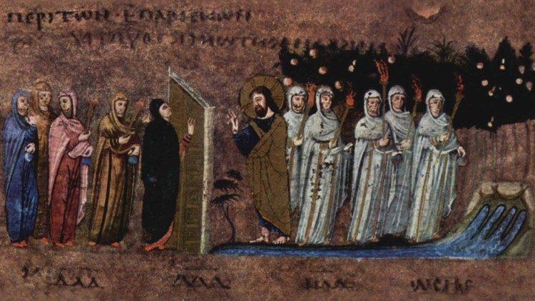 Das Gleichnis von den zehn Jungfrauen (Evangelium vom Sonntag, 8.11.2020), Codex Rossanensis VI. Jhdt.
