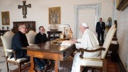 Pope Francis meeting Father Pierluigi Maccalli (centre) in the Vatican on November 9, 2020.