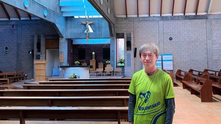 Si Chun Lam, one of the participants in the Economy of Francis, in his parish church of Sacred Heart in Coventry, UK