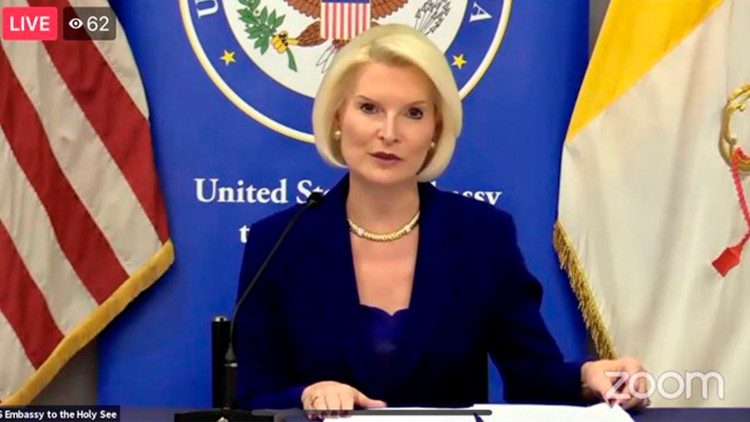 Ambassador Callista Gingrich provides opening remarks (Photo courtesy of US Embassy to the Holy See)