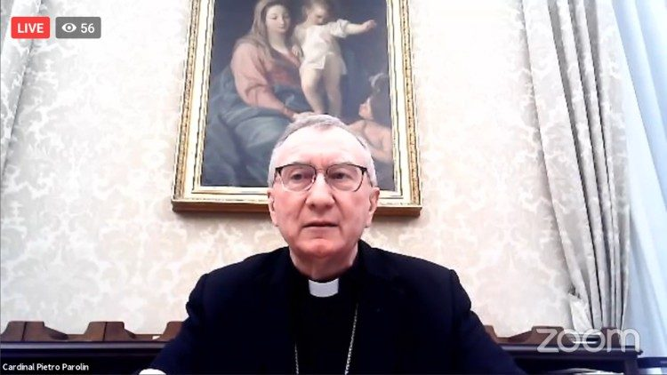 Cardinal Pietro Parolin providing concluding remarks in a virtual symposium on anti-semitism