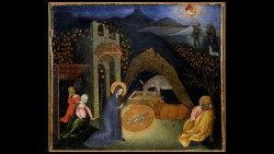 John of Paul (1395/1400 ca. 1482); Altar-step compartment: The Nativity and the Annunciation to the Shepherds; Tempera on poplar; 1435 ca.; Vatican Art Gallery © Musei Vaticani
