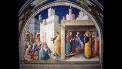 Brother Giovanni da Fiesole, called Blessed Fra Angelico (1395-1455); Preaching of St. Stephen and the Dispute in the Sanhedrin; 1448-1449; Vatican Apostolic Palace; Niccolina Chapel (Nicholas V 1447-1455); after restoration © Musei Vaticani