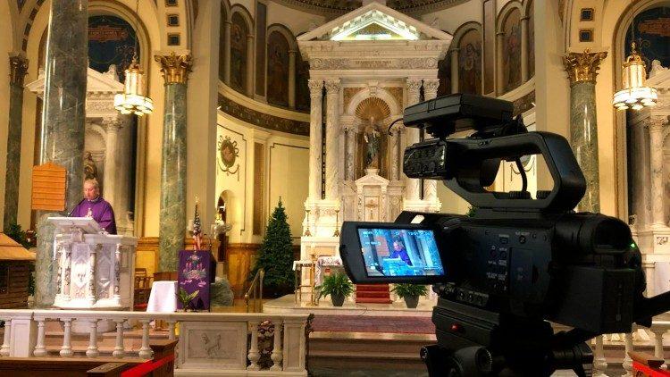 Broadcasting Holy Mass celebrated by Fr Tarcisio Andro, St Matthias Parish, Ridgewood, NY