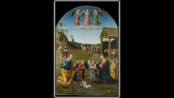 "Giovanni di Pietro, called Lo Spagna (""The Spaniard""), Nativity and arrival of the Magi, 1507-1508, oil on wood, golden frame, Vatican Art Gallery © Musei Vaticani"
