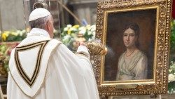 Pope Francis incenses an image of Pauline Jaricot