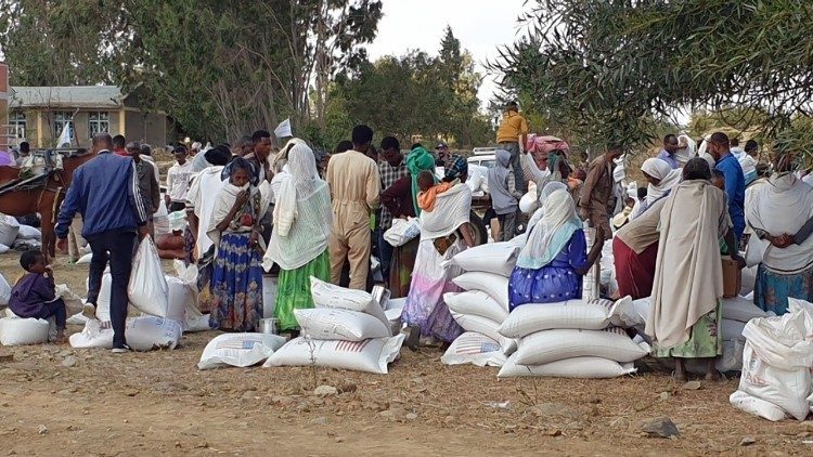 Families in Ethiopia's Tigray region receive foodstuffs from Catholic aid agencies