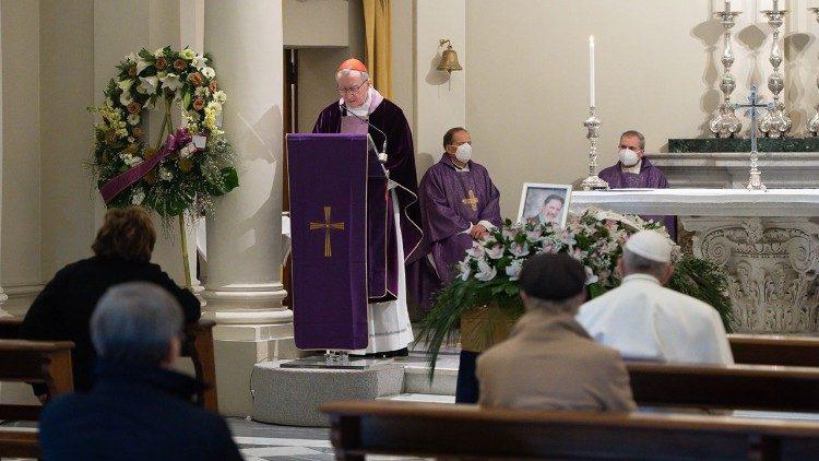 Pope Francis attends the funeral of Dr Fabrizio Soccorsi in the Vatican's Church of S. Maria Regina della Famiglia