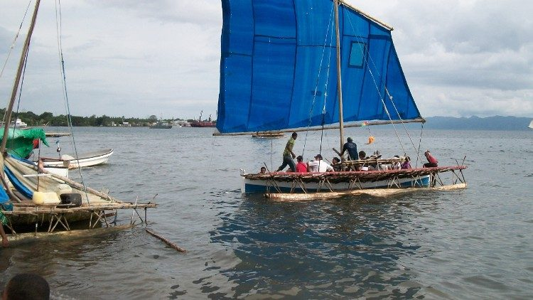 A typical vessel used by locals to travel between islands