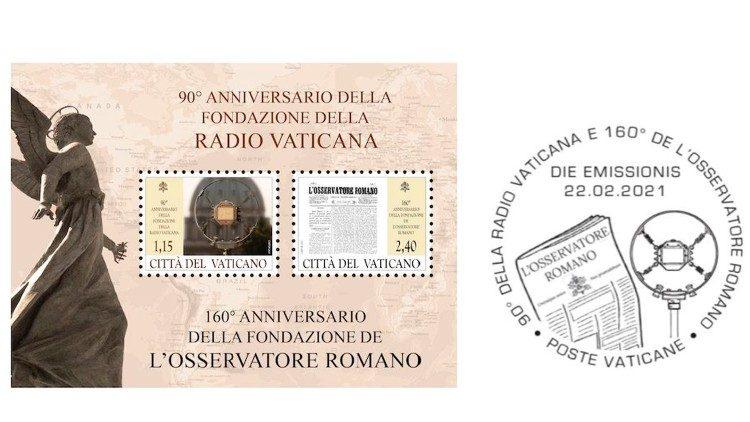 Hoja y timbre especial del 90º aniversario de la fundación de Radio Vaticano y del 160º aniversario de la fundación de LOsservatore Romano.