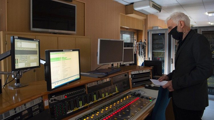 A Vatican Radio sound engineer at work in the Pius Palace