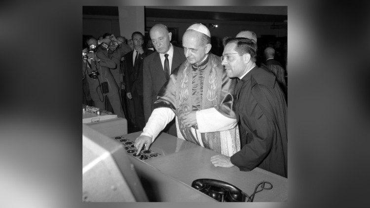 Papa Pavao VI. u posjetu odašiljačkom centru Santa Maria di Galeria