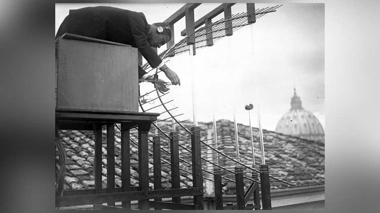 A technician at work on the Vatican Radio antennas - 1932